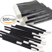 500pcs Black Disposable Lipstick Wands Lip Gloss Applicators Cotton Swabs Makeup Brushes Tool