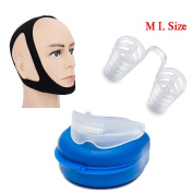 Snore Stopper Solution 3 Pack Adjustable Stop Snoring Chin Strap, Anti-Snore Sleep Aid, Snores Stopper Nose Vents Device