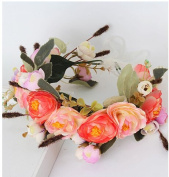 JZK® Orange red floral headband for bride bridesmaid flower girl for wedding party carnival for kid & adult, floral crown tiara headpiece garland flower wreath hawaii headband