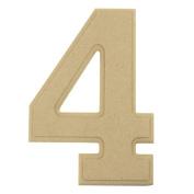 Homeford Bevelled Wooden Number 4, Ivory, 15cm