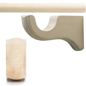 Kirsch Wood Trends 3.5cm Smooth Pole (MPN #56016G091) + 3 Long Brackets (MPN #5614EG091) + 2 End Cap Finial (MPN #36808091), in Unfinished : 1.8m