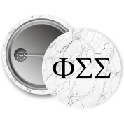 Phi Sigma Sigma Light Marble with Black Letters 5.7cm Button Phi Sig