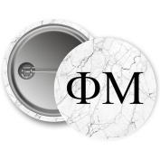 Phi Mu Light Marble with Black Letters 5.7cm Button