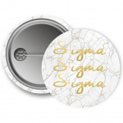 Sigma Sigma Sigma Button Light Marble with Gold Script 5.7cm Button Tri-Sigma