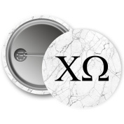 Chi Omega Light Marble with Black Letters 5.7cm Button Chi O