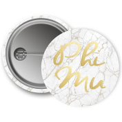 Phi Mu Button Light Marble with Gold Script 5.7cm Button