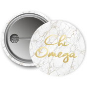 Chi Omega Button Light Marble with Gold Script 5.7cm Button Chi O