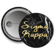 Sigma Kappa Button Dark Marble with Gold Script 5.7cm Button Sig Kap