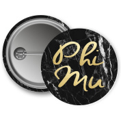 Phi Mu Button Dark Marble with Gold Script 5.7cm Button
