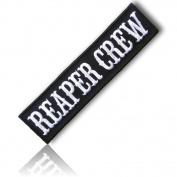 "[Single Count] Custom and Unique (10cm Inch) Rectangle Bold Classic ""Reaper Crew"" Biker Outlaw Paintball Airsoft Team Moral Death Dealer (Gang) Hook Fastener Patch {Black & White Colours} {licenced}"