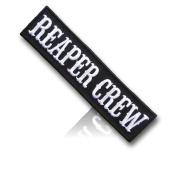 """[Single Count] Custom and Unique (10cm x 2.5cm Inch) Rectangle Dark Grim """"Reaper Crew"""" Tactical Morale Soldier Team Air-soft Player Uniform (Military) Hook Fastener Patch {Black & White Colours} {licenced}"""