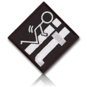 """[Single Count] Custom, Cool & Awesome {5.1cm x 5.1cm Inches} Square Tactical Morale Hilarious """"F IT"""" Stick Vulgar Figure Man Humping Grinding On Letters (Funny Comedy) Hook Fastener Patch """"White & Black"""""""