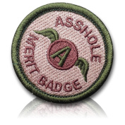 "[Single Count] Custom and Unique (5.1cm Inch) Circular Shaped ""Asshole Merit Badge"" ""Military"" Winged ""A"" Funny US Army Soldier Morale Design Iron On Embroidered Iron On Patch {Tan & Forest Green Colours}"