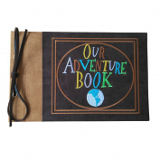 LINKEDWIN Embroidered Our Adventure Book, Suede Hardcover Scrapbook, 29cm x 19cm