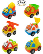 M-jump Pull Back Friction Powered Car Toys for Kids - Recovery Vehicle ,Fire Engine ,Mixer Truck ,Excavator ,Loader and Trailer - Safe and Durable Plastic Trucks