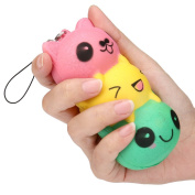 Rcool Creative Stress Reliever Squishy Squeeze Cute Face Mochi Super Slow Rising Fun Soft Toy Cellphone Key Chain Charm Pendant Strap Kid Gift