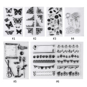 6 Sheets Multi Patterns Transparent Silicone Stamp Seal for DIY Scrapbook Diary Decoration