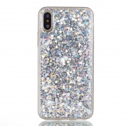 Iphone X Case ,Sunvy Bling Glitter TPU Case Sparkling Flexible Soft Rubber Gel Clear TPU Cases Silicone Back Case for Iphone X / iphone 10 With a Screen Protector