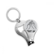 Black Clap Personalised Gesture Key Chain Ring Toe Nail Clipper Cutter Scissor Tool Kit Bottle Opener Gift