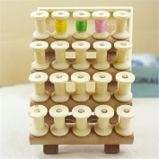 Katoot@ 20Pcs Vintage Style Wooden Bobbins Spools Reels For Sewing Ribbons Twine Crafts Household Sewing Needlework Accessories Crafts