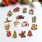 15 Beautiful Assorted Mixed Christmas Wood Buttons, 3.2cm x 1.9cm Button Crafts Scrapbook B12715B