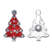 1PCS Rhinestone Christmas Tree Shape Snap Button Jewellery Charm for DIY Bracelet 28x19mm