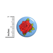 Cool Red Blue Rose Button Pinback Backpack Jacket Pin Pretty Love Cool 2.5cm #41-26