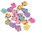 Anndeeson Wooden Mixed Owl Pattern Buttons Sewing Scrapbooking Accessories - Random