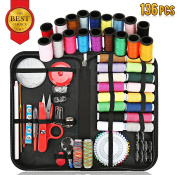 Sewing Kit, Sewing Supplies Kit for All Sewing Purpose with Total 136 Premium Sewing Supplies-Enhanced Sewing Needles & Assorted Colour Threads, Suit for Travel & Home Sewing Accessories