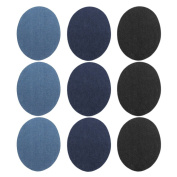 9PCS Denim Iron-on Round Patches DIY Crafts Jeans Clothes Patches Repair Kit Accessory