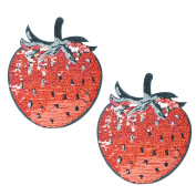 2PCS Cute Sequins Strawberry Pattern Sew-on Applique Patches DIY Crafts Dresses T-shirt Jeans Clothes Bags Scarves Patches