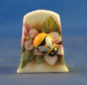 Porcelain China Collectable Thimble -- Cameo Bee on Flower