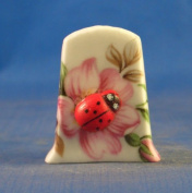 Porcelain China Collectable Thimble -- Cameo Ladybug on Flower