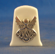 Porcelain China Collectable Thimble -- Antique Silver Angel with Free Gift Box