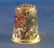 Porcelain China Collectable Thimble -- Vintage Floral Daisies with Free Gift Box