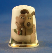 Porcelain China Collectable Thimble -- Wallace & Gromit with Free Gift Box