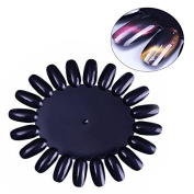 CoulorButtons 10 Pcs Black False Nail Tips Plastic Nail Polish Colour Card Manicure Nail Art Practise Display Wheel