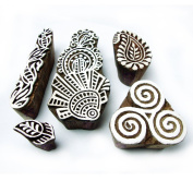 Artistic Floral and Spiral Pattern Wooden Printing Blocks