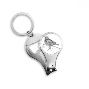 Bird Paint Flying Line Small Key Chain Ring Multi-function Nail Clippers Bottle Opener Gift