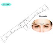 VOOA 100pcs Eyebrow Ruler Disposable Eyebrow Ruler Sticker Eyebrow Ruler Scale Sticker Adhesive Eyebrow Microblading Ruler Guide for Makeup Tool
