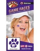 Kansas State University (KSU) Wildcats – Waterless Peel & Stick Temporary Spirit Tattoos – 4-Piece – White Willie Wildcat Head Logo on Purple Paw Print