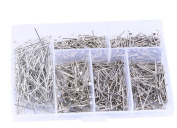 1Box Mixed Size Silver Plated Head Pin Jewellery Findings DIY Making Handmade Necklace Jewellery Craft Arts T-pin Flat Pins Beaded Material Accessories Needles