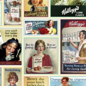 Kellogg's Ladies Ad Patch Vintage Cereal Ads Cotton Fabric Fat Quarter by_4my3boyz