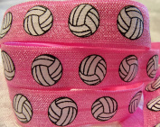 Fold Over Elastic -- PINK VOLLEYBALL FOE -- For DIY Headbands, Wristbands, or Hair Ties! 1.6cm W - 5 Yards