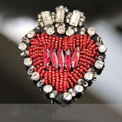 1piece Beaded Crystal Red Heart Design Patches Sew on Rhinestones Applique for Clothes Shoes Decorated Sewing Accessories TH589