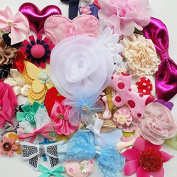 Dandan DIY 50pcs Random Mix Lots Ribbon Flowers Bows Felt Paded Appliques Patches Bulk