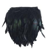KOLIGHT Pack of 10 Yards Natural Rooster Hackle Feather Trim Fringe 13cm - 18cm in Width DIY Decoration