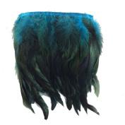 KOLIGHT Pack of 5 Yards Natural Rooster Hackle Feather Trim Fringe 13cm - 18cm in Width DIY Decoration