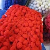 HomeBuy Pom Pom Bobble Trim Fringe - Medium Size 10Mm Red D