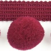 HomeBuy Xl Pom Pom Bobble Trim Fringe Trimming - Xl Size 2Cm (0.8 Inches) ( Per Metre) Burgundy C